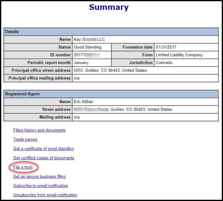 Colorado Period Report File A Form