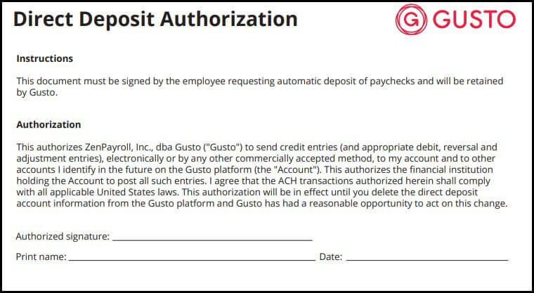 Gusto Direct Deposit Authorization Form